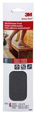 Safety-Walk Anti-Slip Tread, Gray, 2 x 9-In., 6-Pk.