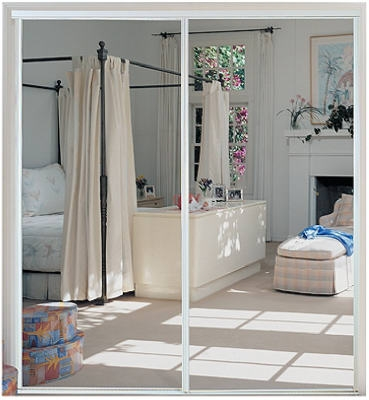 Sliding Mirror Door, Steel, Bright White, 59 x 80.5-In.