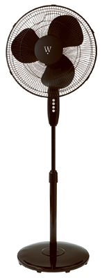 Oscillating Stand Fan, Black, 16-In.