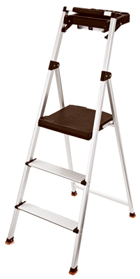 Step Stool With Tray, 3-Step, Aluminum