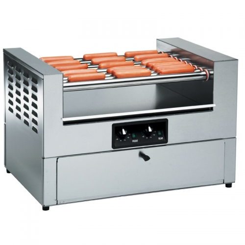 Hot dog roller with bun warmer
