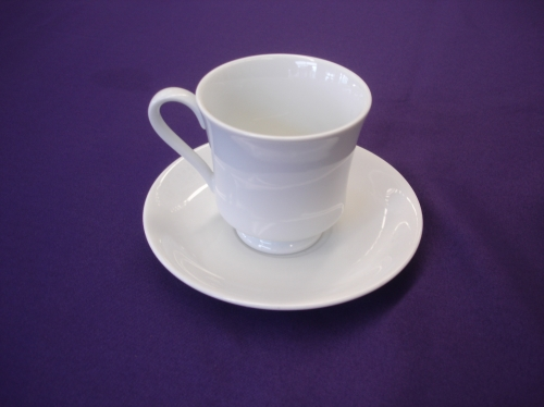 Coffee cup and saucer white