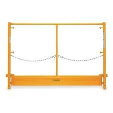 Scaffold frame safety rail with toeboard