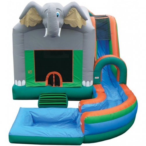 Inflatable Wet/Dry Jungle Bounce with Slide and optional pool