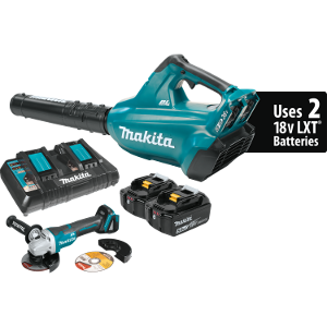 18V X2 (36V) LXT® Lithium‑Ion Brushless Cordless Blower Kit (5.0Ah) and Brushless Angle Grinder