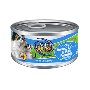 Nutrisource Cat & Kitten Chicken, Turkey, Lamb & Fish Cat Food can 5.5oz