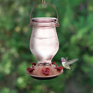 PERKY-PET® ROSE GOLD TOP-FILL GLASS HUMMINGBIRD FEEDER