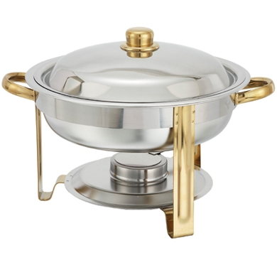 6 Qt. Round Gold Trim Chafer