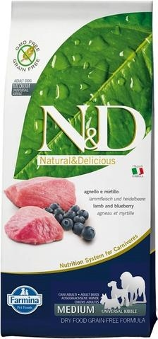 Farmina N&D Natural and Delicious Grain Free Medium Adult Lamb & Blueberry Dry Dog Food