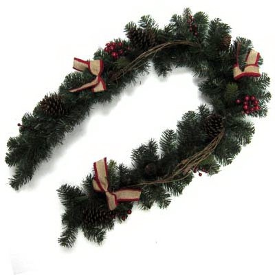 6' Branch Garland with Red Burlap Bows