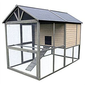Hen Coop, Walk-In, Taupe With Chocolate Trim, 98.4 x 55.1 x 70.9-In.