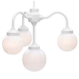 4-Light Tent Chandelier - White