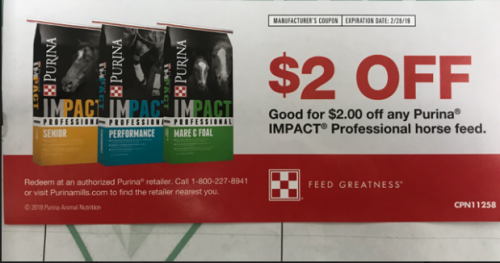 $2 off Purina Impact Professional Horse Feed