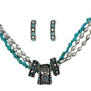 Montana Silversmiths Silver & Turquois 3 Rings Necklace & Earrings Group