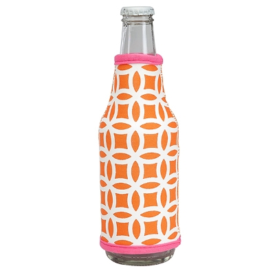 Neoprene Bottle Coozie - Orange/Pink Circles