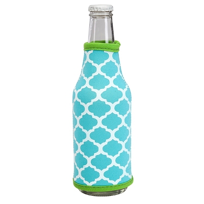 Neoprene Bottle Coozie - Turquoise/Lime Geo