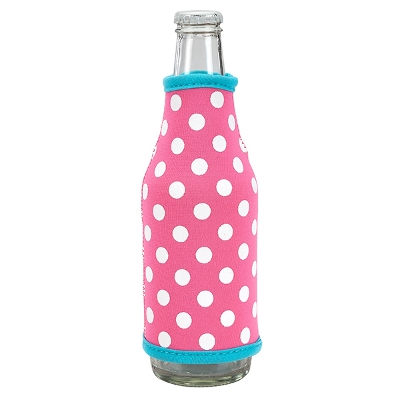 Neoprene Bottle Coozie - Pink/Turquoise Dots