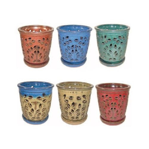 "Border Concepts 5.25"" Assorted Glazed Orchid Pots"