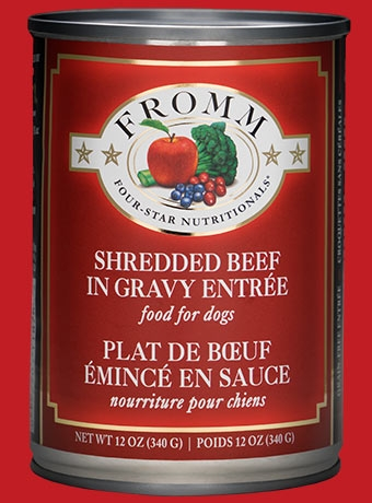 Fromm Four Star Shredded Beef in Gravy Entrée Canned Dog Food 12 oz.