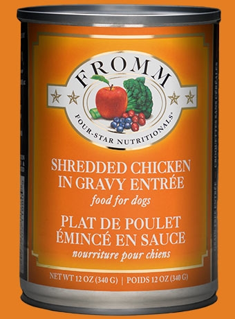 Fromm Four Star Shredded Chicken in Gravy Entrée Canned Dog Food 12 oz.