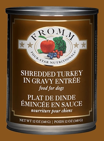 Fromm Four Star Shredded Turkey in Gravy Entrée Canned Dog Food 12 oz.