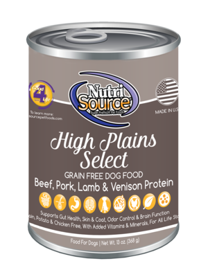 Nutrisource High Plains Select Grain Free Canned Dog Food 13 oz.