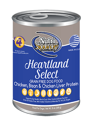 Nutrisource Heartland Select Grain Free Canned Dog Food 13 oz.
