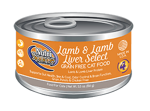 Nutrisource Lamb and Lamb Liver Select Grain Free Canned Cat Food 5.5 oz.