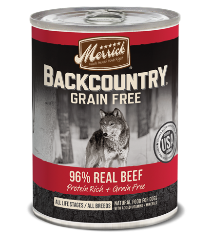 Merrick Backcountry 96% Real Beef Canned Dog Food 12.7 oz.