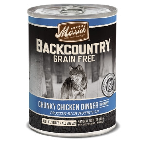 Merrick Backcountry Chunky Chicken Dinner in Gravy Canned Dog Food 13.2 oz.