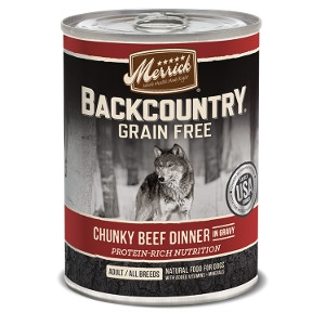 Merrick Backcountry Chunky Beef Dinner in Gravy Canned Dog Food 13.2 oz.